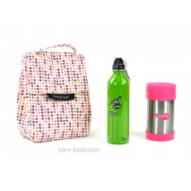 Pack Sac isotherme Lunchbag Coeurs + Gourde inox 600ml Bird + Boite repas isotherme 470 Pink