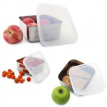 Pack Trio CLEAR boites inox carrées gigognes