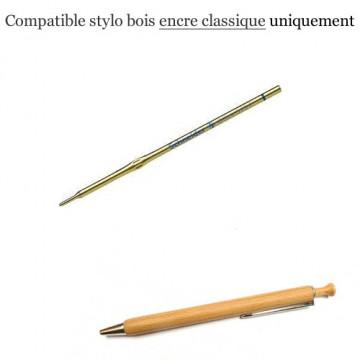 Recharge stylo bois / poussoir bois - Encre durée normale