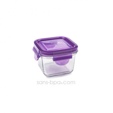 Contenant verre Snack Cube 210ml - Framboise
