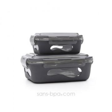 Pack 2 boites verre & silicone - Ardoise