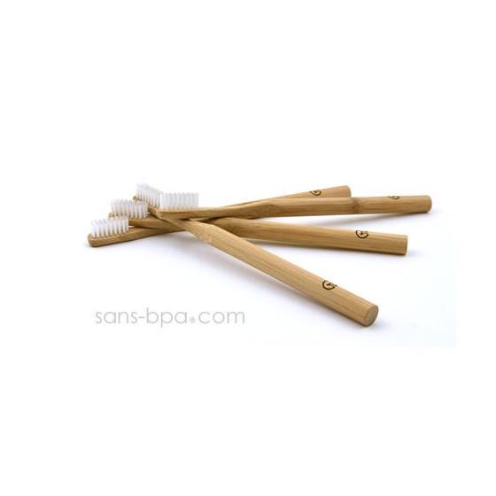 Lot 4 Brosses à dents bambou - Poils médium - Jolie Ronde