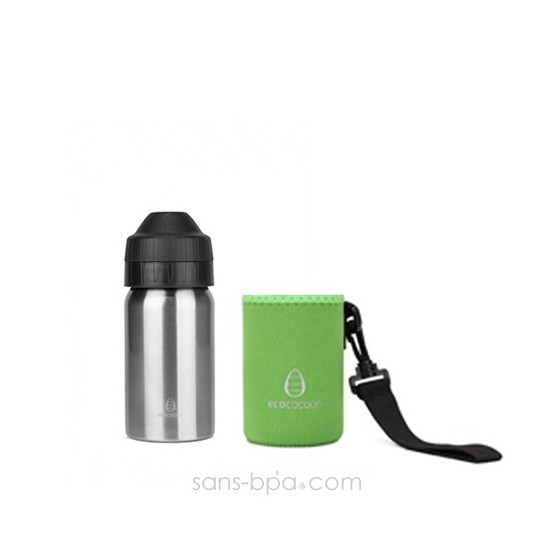 Pack gourde isotherme 350ml Silver & sa housse Alphabet Ecococoon