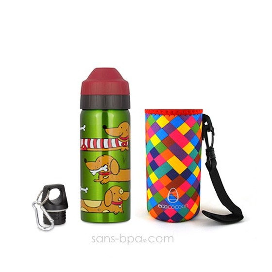 Pack gourde isotherme 500 ml Chien & sa housse Rouge Ecococoon