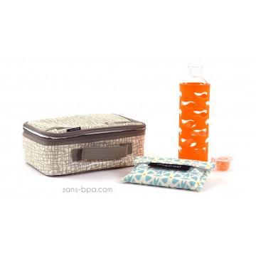 Pack Lunchbox Mesh + Gourde verre Mandarine + Pochette Small Géo