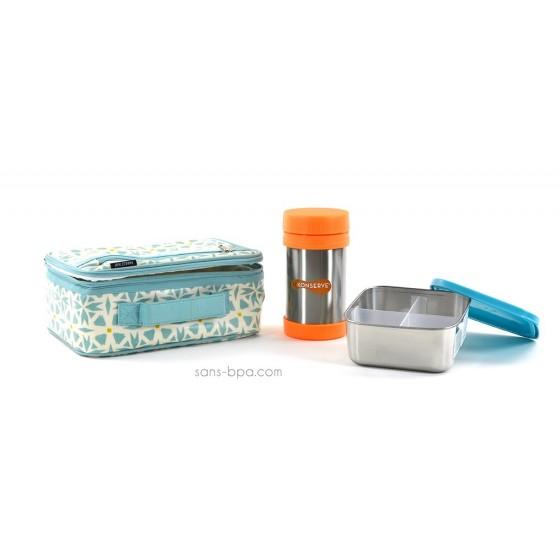 Pack Lunchbox Géo + Boite repas isotherme Mandarine + boite carré médium Ciel