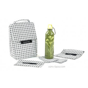 Pack Sac isotherme Lunchbag W&B+ Gourde inox 600 ml Parsley + Bundles B&W