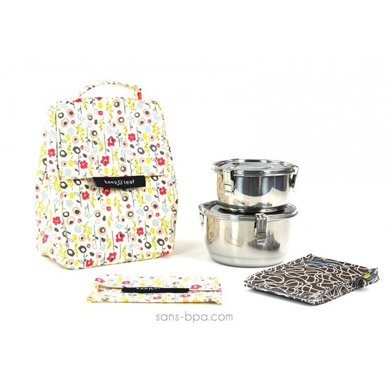 Pack Sac isotherme Lunchbag Bloom + Boites inox 12 + 14 + Pack glace Chocolat + Pochette small Bloom