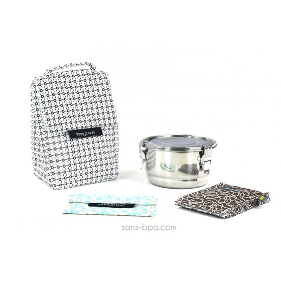 Pack Sac isotherme Lunchbag B&W + Boites inox 16 + Pack glace Chocolat + Pochette small Géo