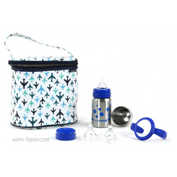 Pack Sac isotherme Cooler Bag Avion + Kit biberon évolutif GL Pois Bleu Organic Kidz