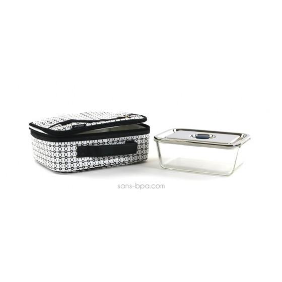 Pack Lunchbox White & Black + Boite verre rectangle 1600ml Onyx