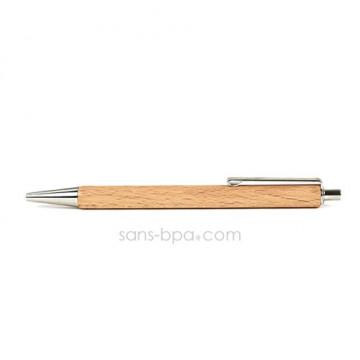 Stylo bois poussoir inox - Encre longue durée (noire)