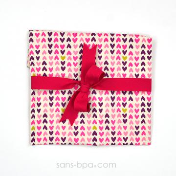 Pochette Cadeau COEUR - ruban Fushia