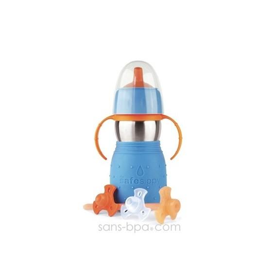 Gourde anti-fuite Safe Sippy 2 bleue de Kid Basix