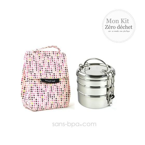 Pack Sac isotherme Lunchbag Coeurs + Gourde inox 600ml Bird + Boite repas isotherme 470 Pink