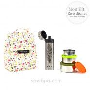 Pack Sac isotherme Lunchbag Bloom + Trio boites gigognes Nature + Gourde inox 500ml Arbre