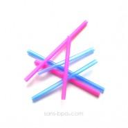 Lot 6 pailles silicones enfants - Bleu & rose