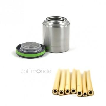 Pack repas isotherme Au P'tit repas isotherme 400 + 5 pailles bambou kids + goupillon de nettoyage
