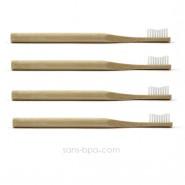 Lot 4 Brosses à dents bambou - Vague - Poils souples