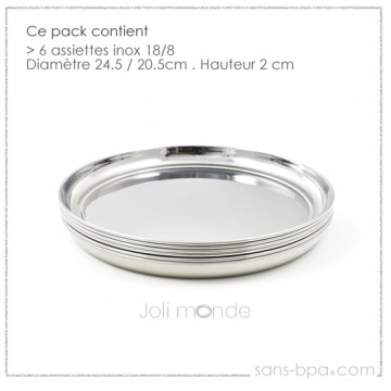 Lot 4 Assiettes inox - La Grande