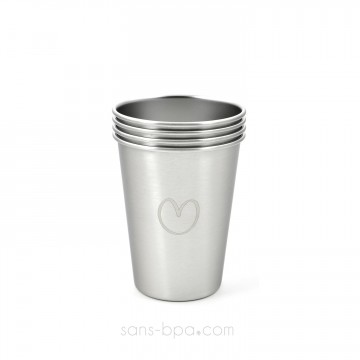 Lot 4 timbales inox 350 ml - Coeur