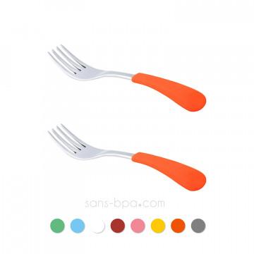 Lot 2 fourchettes pour bambin inox & silicone