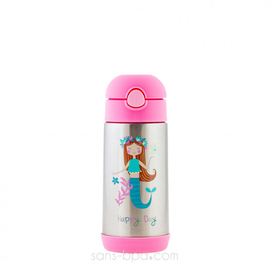 Gourde paille inox isotherme 350ml - Licorne