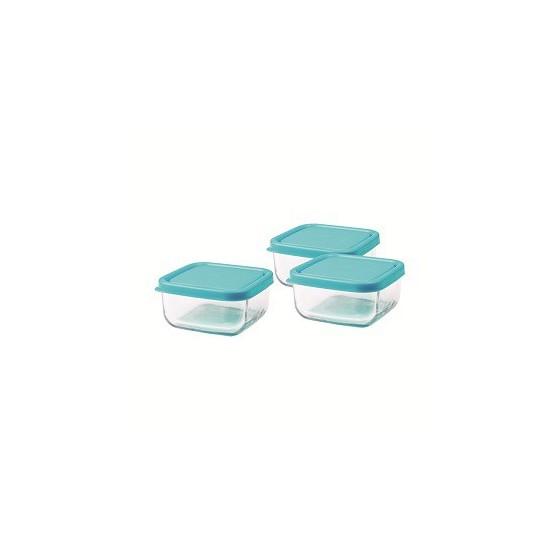 Trio carré en verre 120 ml - Azur - Inno Baby