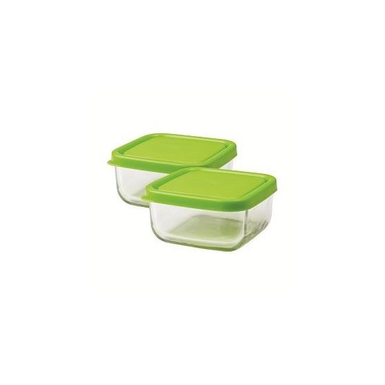 Trio carré en verre 360 ml - Green - Inno Baby