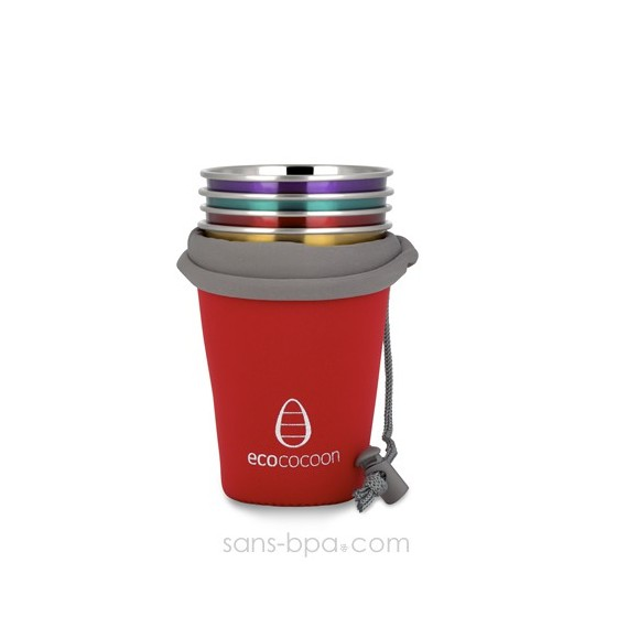 Housse nomade 4 verres - Rouge - Ecococoon