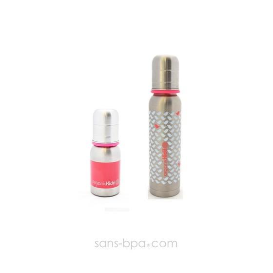Lot 2 biberons inox Goulot Etroit 120 + 270 ml - Pink