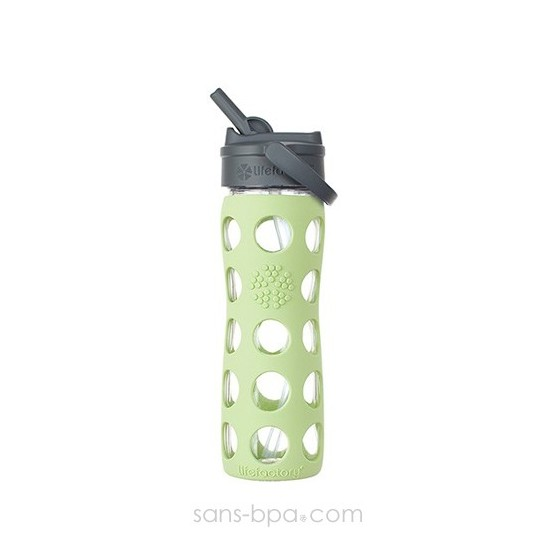 Bouteille verre Straw 470 ml - Vert tendre - LIFEFACTORY