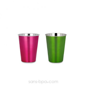 Lot 2 verres PINK & GREEN